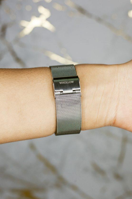 Strap view of Whollow Mars Silver Mesh fashion Watch